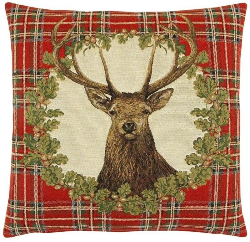Stag Red Tartan Pillow Cover Tapestry Fabric Wall Hangings Custom Stunning Tartan Pillow Covers