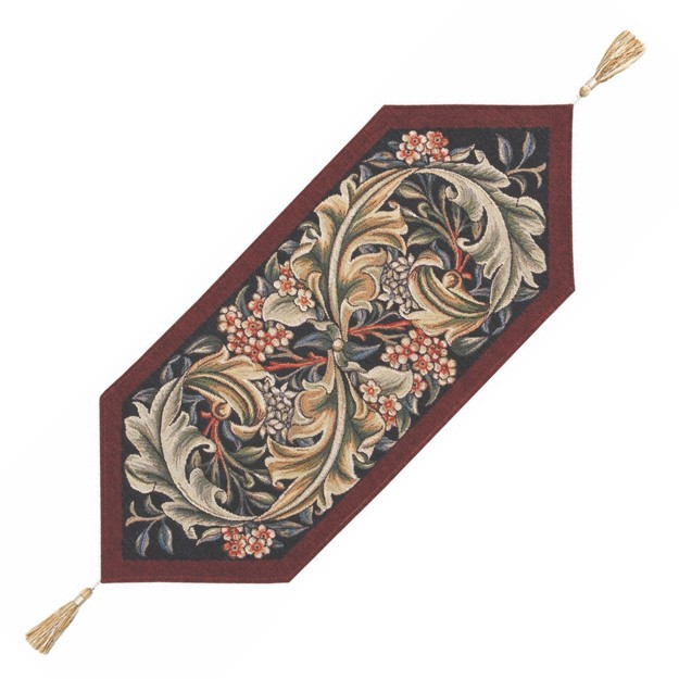 Acanthus Burgundy Tapestry Table Runner