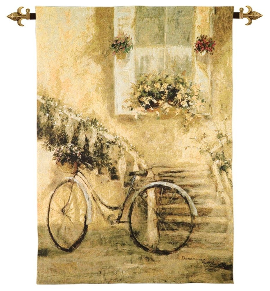 Courtyard Bicycle Woven Art Tapestry Tapestry Fabric Wall Hangings ...