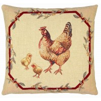 Hen & Chicks Pillow Cover
