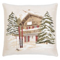 Alpine Skiing Lodge Pillow Cover