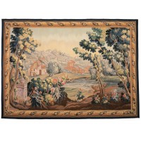 Verdure au Barque Handwoven Tapestry (Greenery with Rowing Boat)