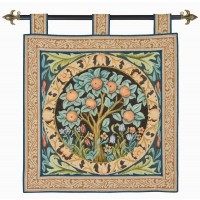 Orange Tree Tapestry with Hanging Loops