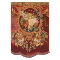 Blossom with Fringe Red Needlepoint Tapestry