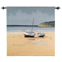Moored at Low Tide Woven Art Tapestry
