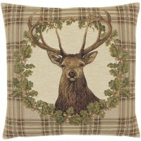 Stag - Beige Tartan Pillow Cover