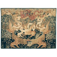 Les Cerfs Ailes (The Winged Stags) Handwoven Tapestry