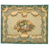 Aubusson Floral Basket Tapestry