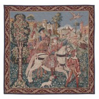 Departure from the Castle (Red Border) Tapestry