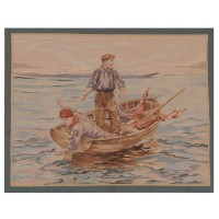The Boatmen Handwoven Tapestry