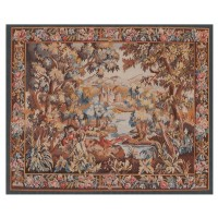 Verdure with Castle & Pheasant Handwoven Tapestry