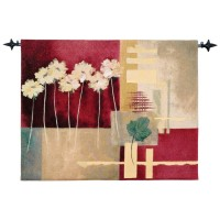 Contemporary Crimson Woven Art Tapestry